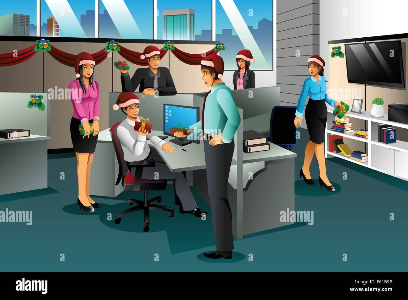 A vector illustration of business people exchanging Christmas gift ...