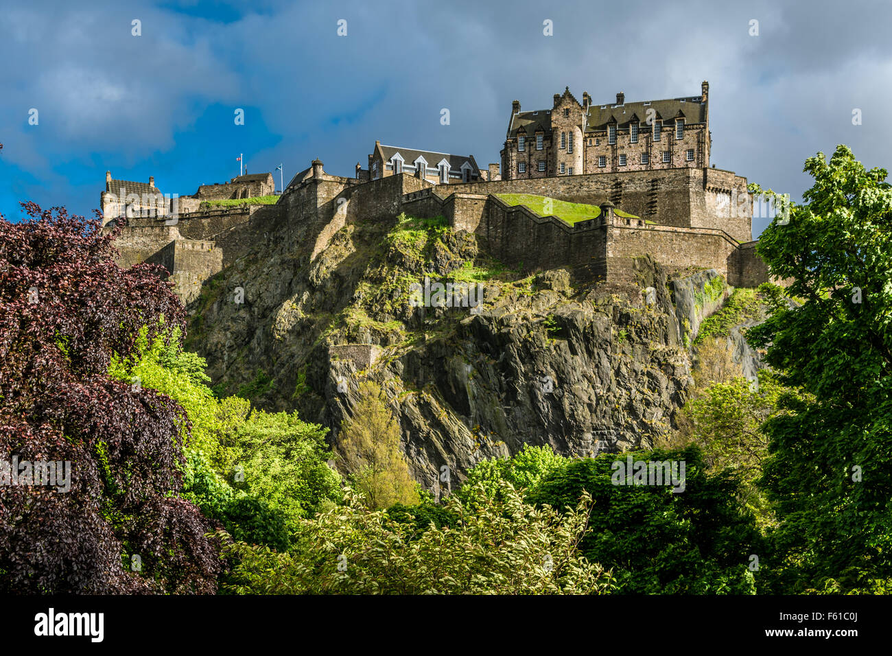 The North Walls of Edinburgh Castle, Scotland Stock Photo