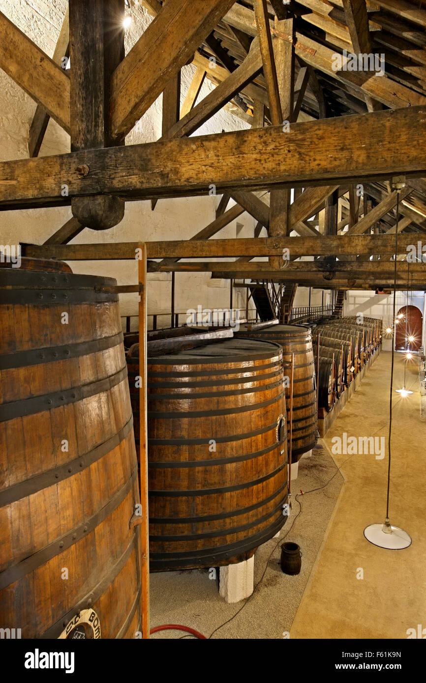 The cellar at Quinta do Bonfim, one of the best wineries in Pinhao town, Douro valley, Porto e Norte, Portugal. - Stock Image