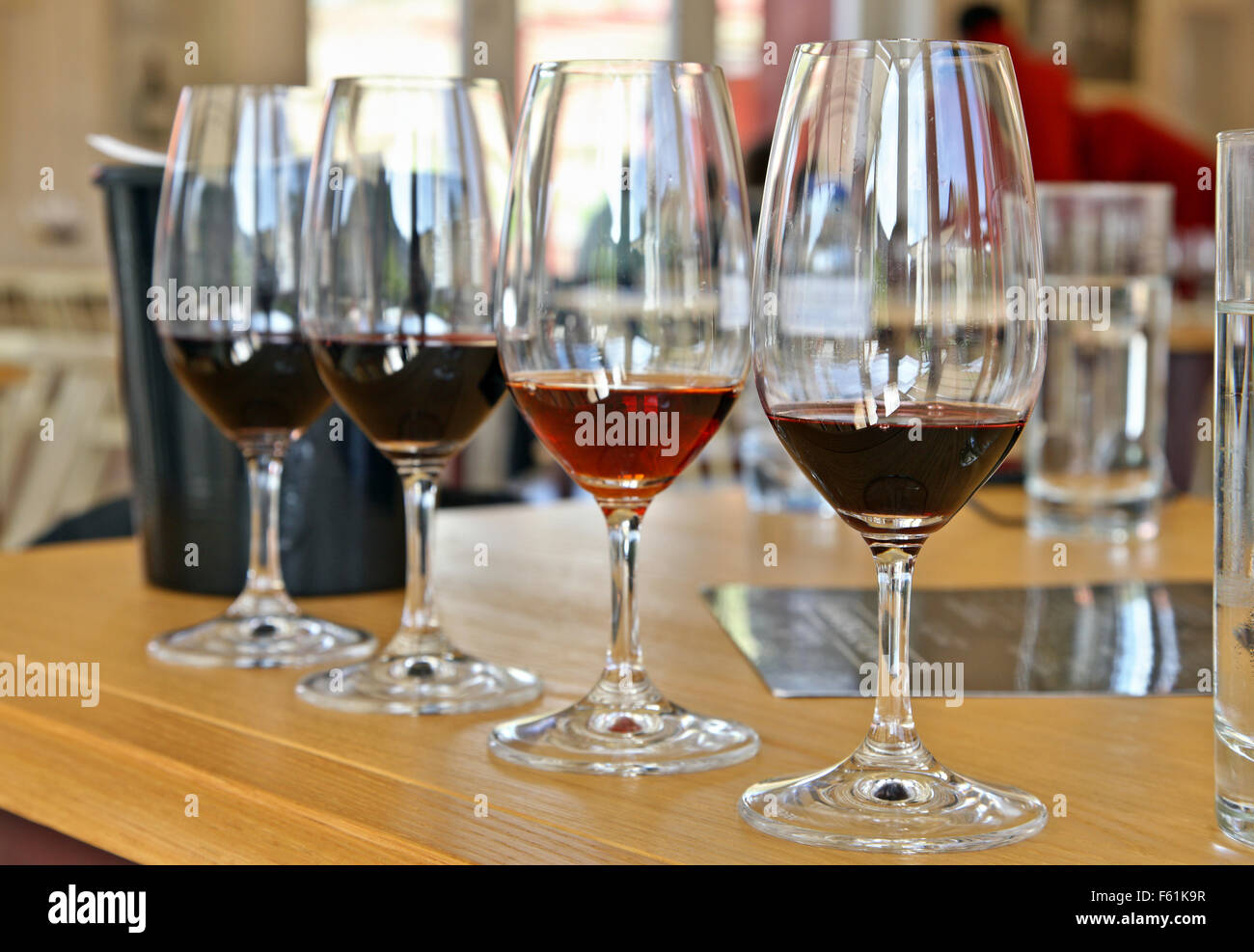 Port wines tasting at Quinta do Bonfim, one of the best wineries in Pinhao town, Douro valley, Porto e Norte, Portugal. - Stock Image