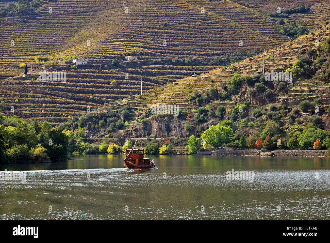 Cruising river Douro with a traditional boat called 'barco rabelo', Porte e Norte, Portugal. - Stock Image