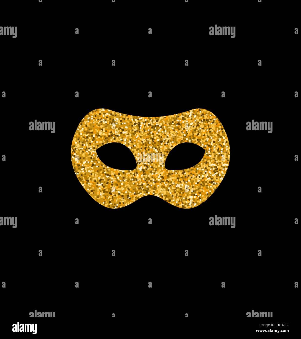 Golden Glittering Carnival or Theater Mask Stock Vector