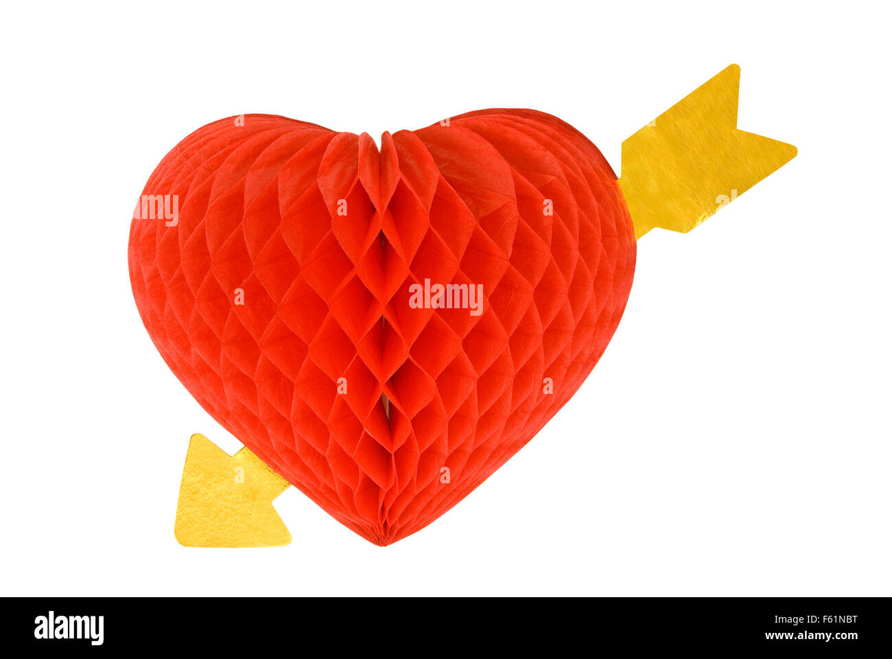 Red Valentine Heart Decoration With Gold Arrow Through It - Stock Image