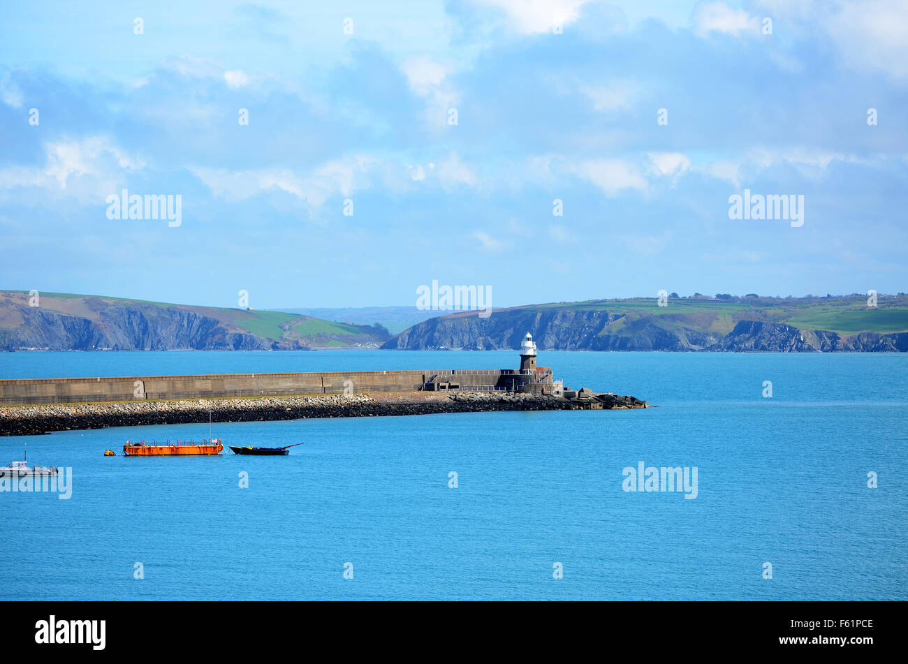 The Harbour wall at Fishguard, Pembrokeshire, South West Wales. - Stock Image