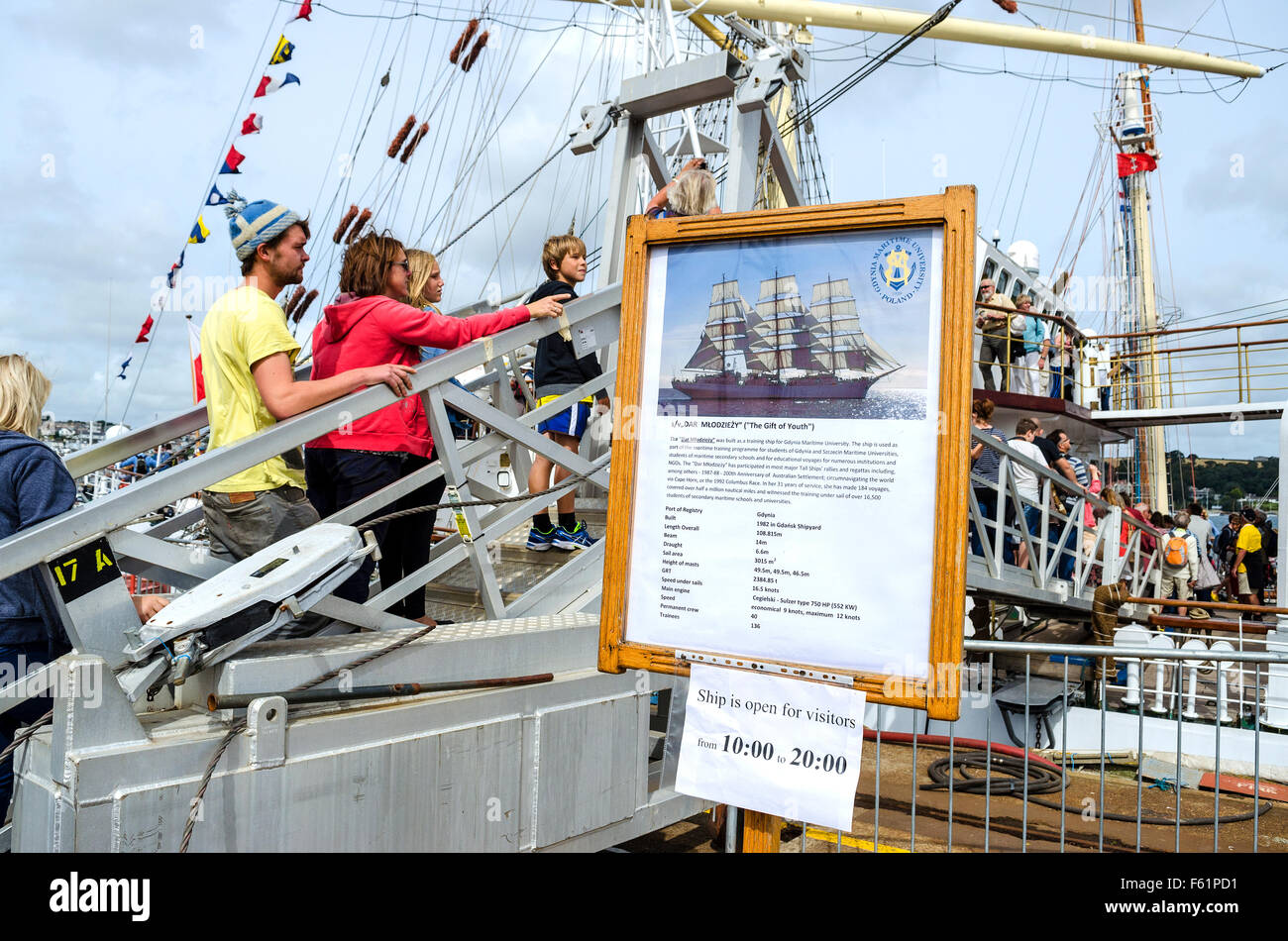 Crowds admire the vessels at the ' Tall Ships ' event in Falmouth, Cornwall, UK - Stock Image