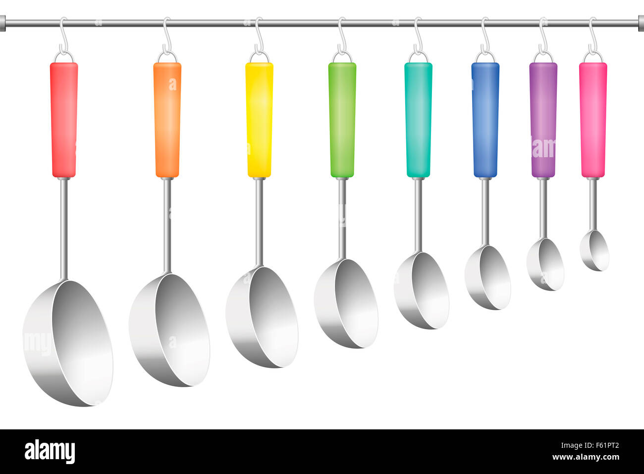 Ladle rack, eight different sizes and colors. Illustration on white background. - Stock Image