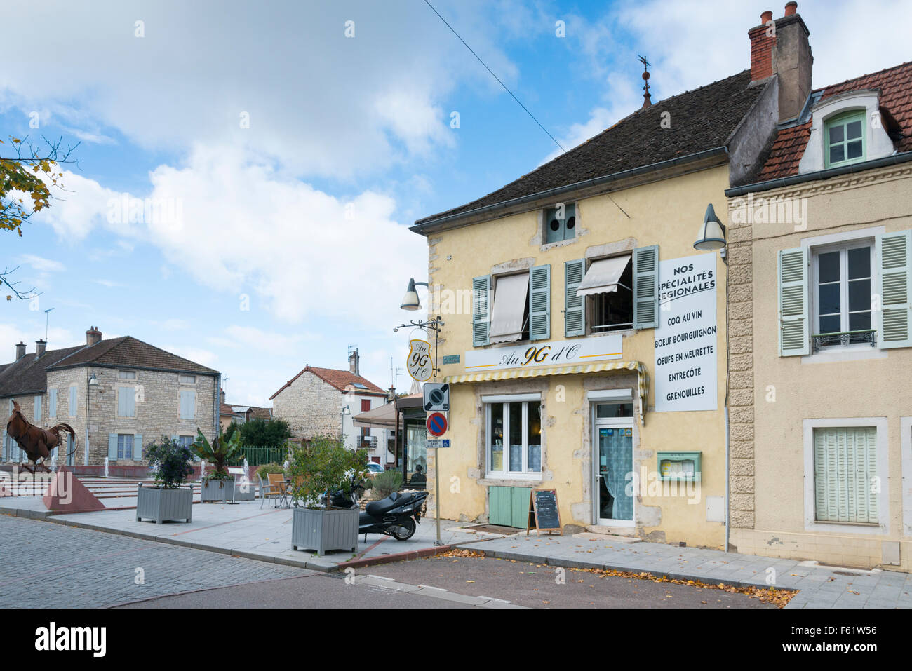 Shops and buildings in a street scene in the town of Chagny France - Stock Image