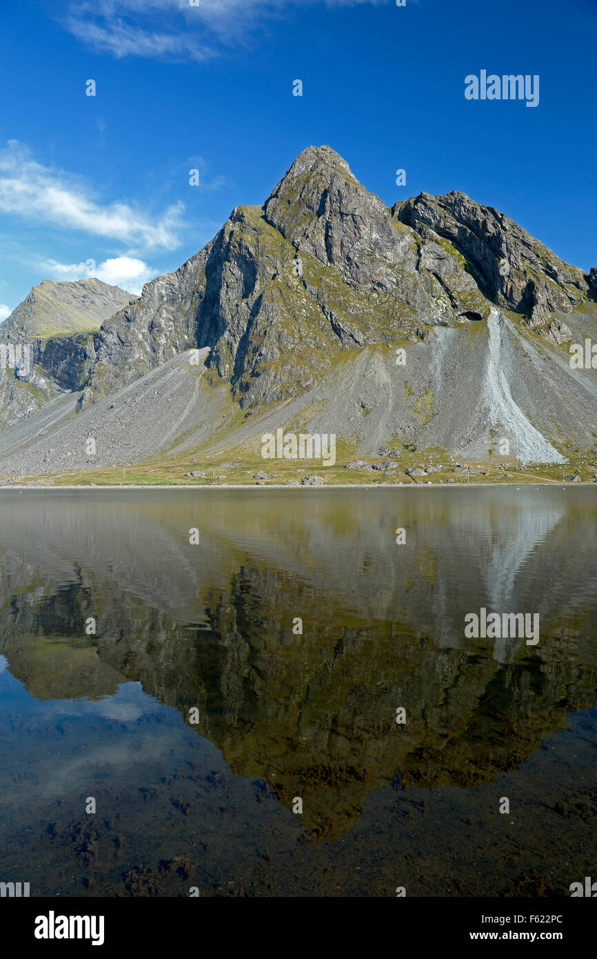 Vikurfjall Mountain reflected on water, from Hvalnes Nature Reserve, Iceland - Stock Image