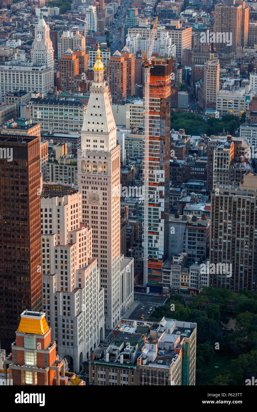 Sunset over Midtown and Madison Square Park. New York City aerial view. Skyscrapers and high-rises shape Manhattan's - Stock Image