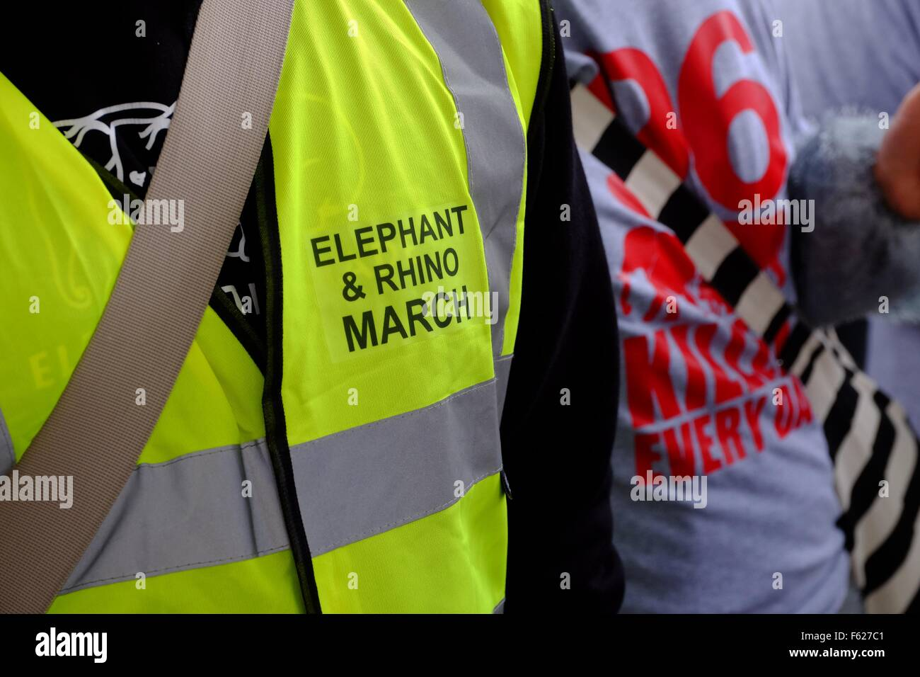 Global March for Elephants and Rhinos. Demo in London , 96 people dress in elephant costumes representing the estimated - Stock Image