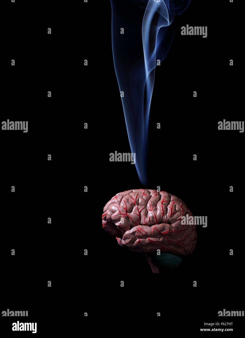 Studio shot of smoke rising from human brain - Stock Image