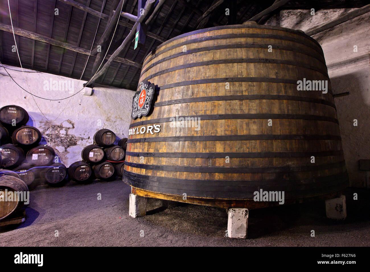 Huge barrels in the cellars of 'Taylor's' in Villa Nova de Gaia, Porto, Porte e Norte, Portugal. - Stock Image