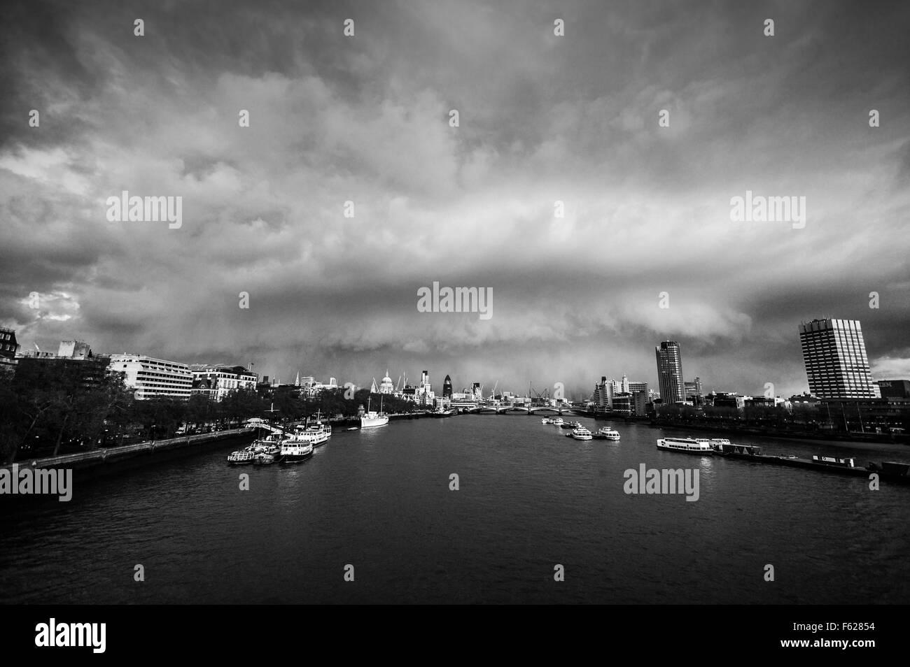 Storm over London view from Waterloo bridge - Stock Image