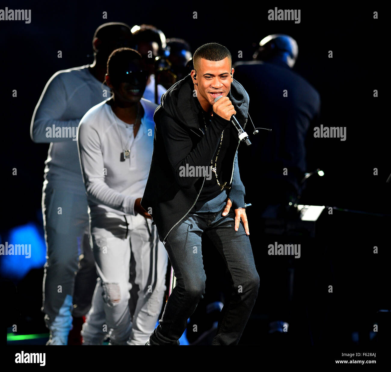 Gente de Zona perform at the American Airlines Arena  Featuring: Randy Malcom Martinez, Gente de Zona Where: Miami, Stock Photo