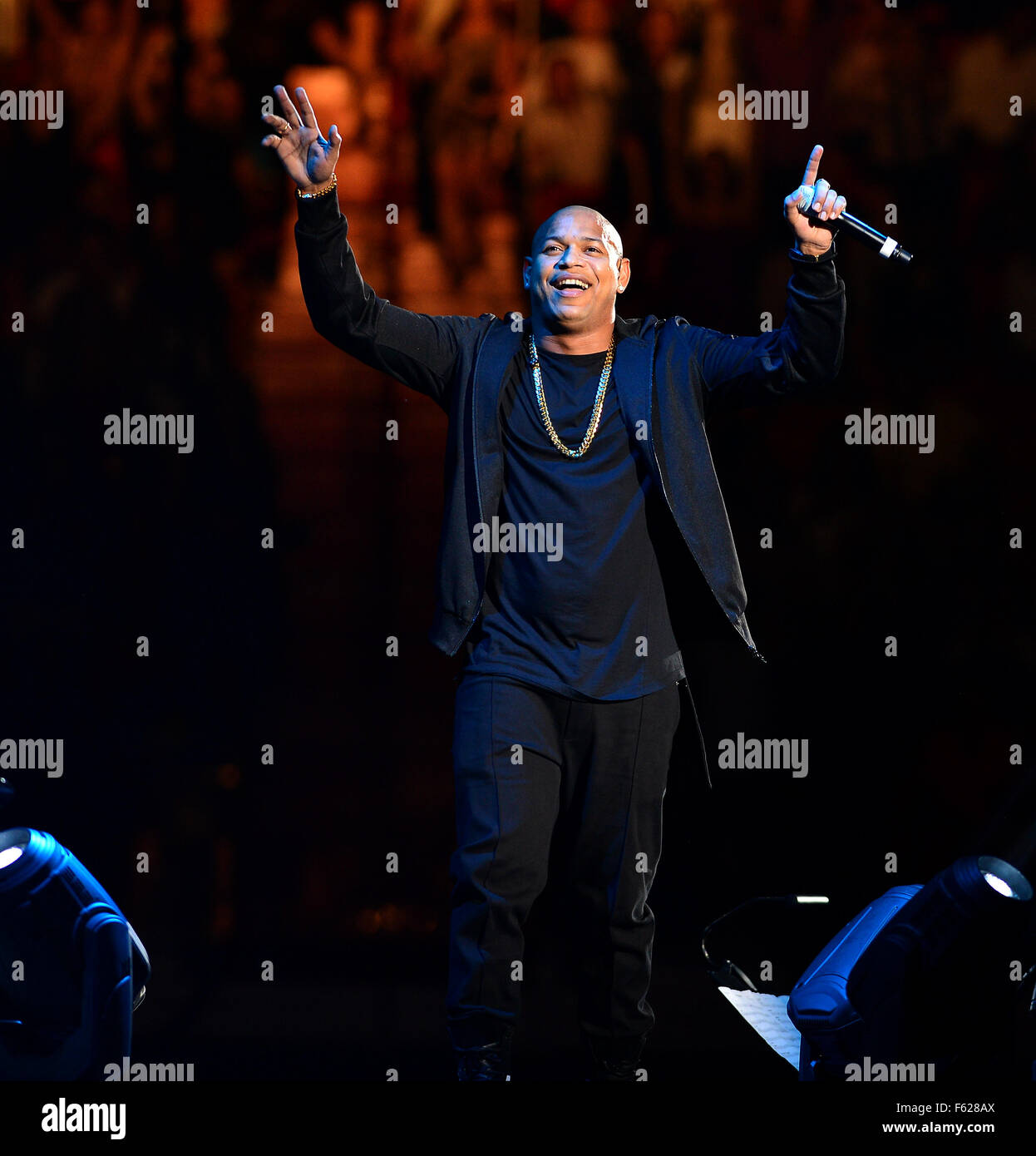 Gente de Zona perform at the American Airlines Arena  Featuring: Alexander Delgado, Gente de Zona Where: Miami, Stock Photo