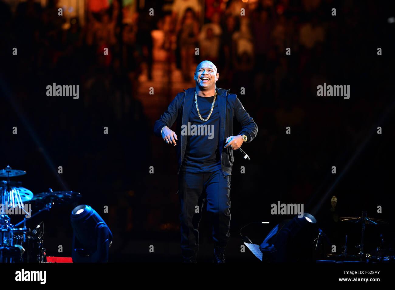 Gente de Zona perform at the American Airlines Arena  Featuring: Alexander Delgado, Gente de Zona Where: Miami, Stock Photo
