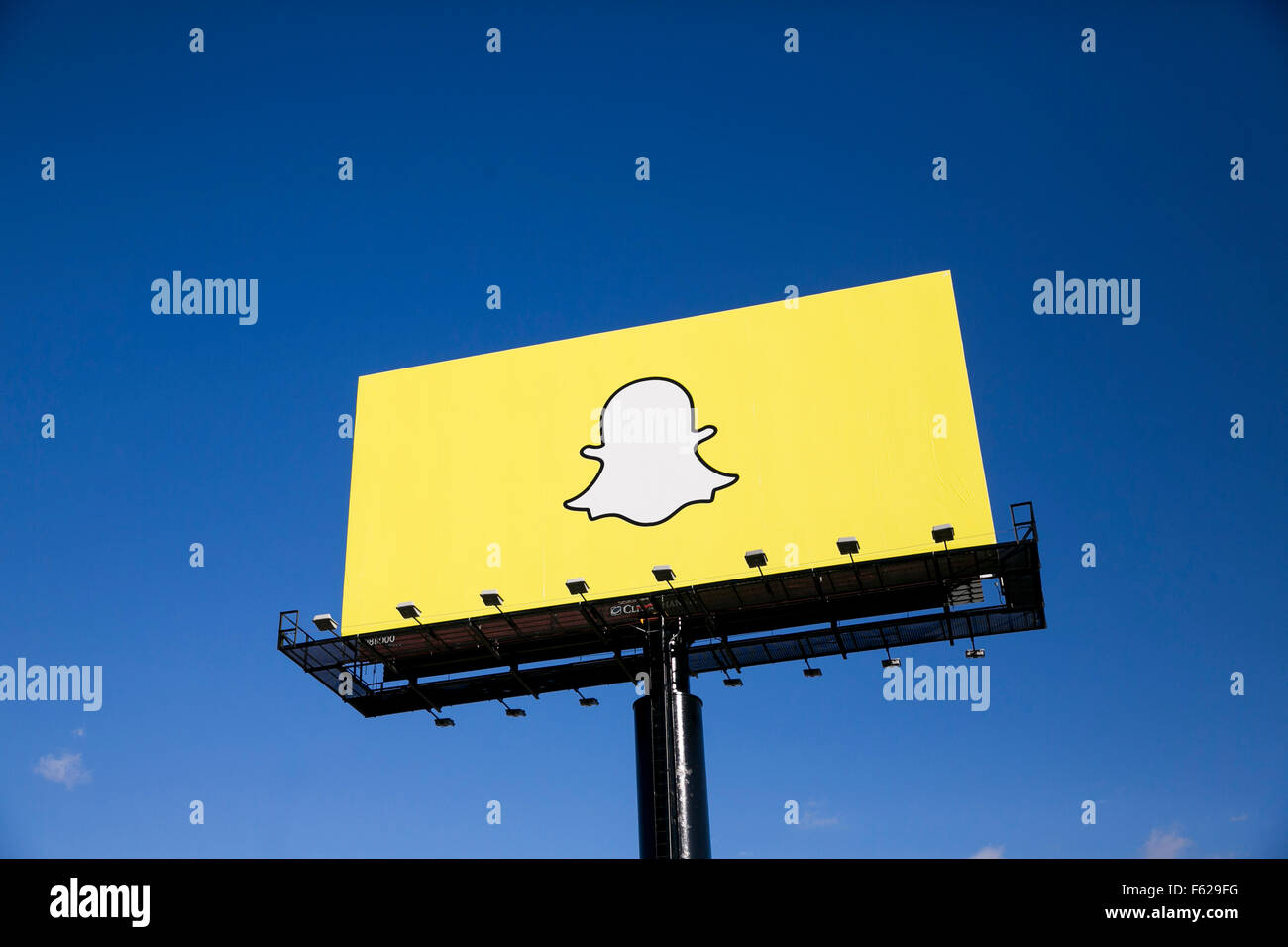An advertising billboard featuring the Snapchat logo in Richfield, Minnesota on October 24, 2015. - Stock Image