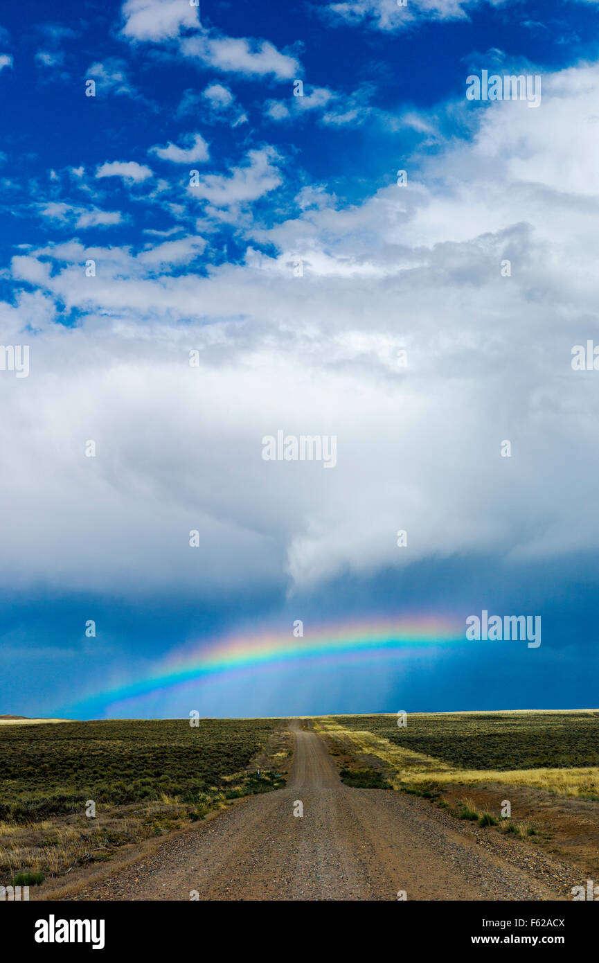 Rainbow off highway 789 near Creston Junction; south central Wyoming; USA - Stock Image