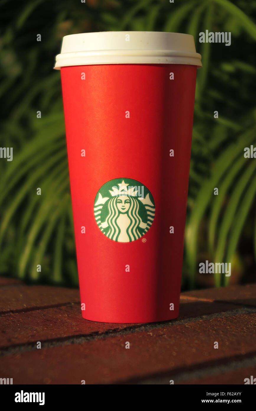 San Clemente, California, USA. 10th Nov, 2015. A Starbucks red paper ...