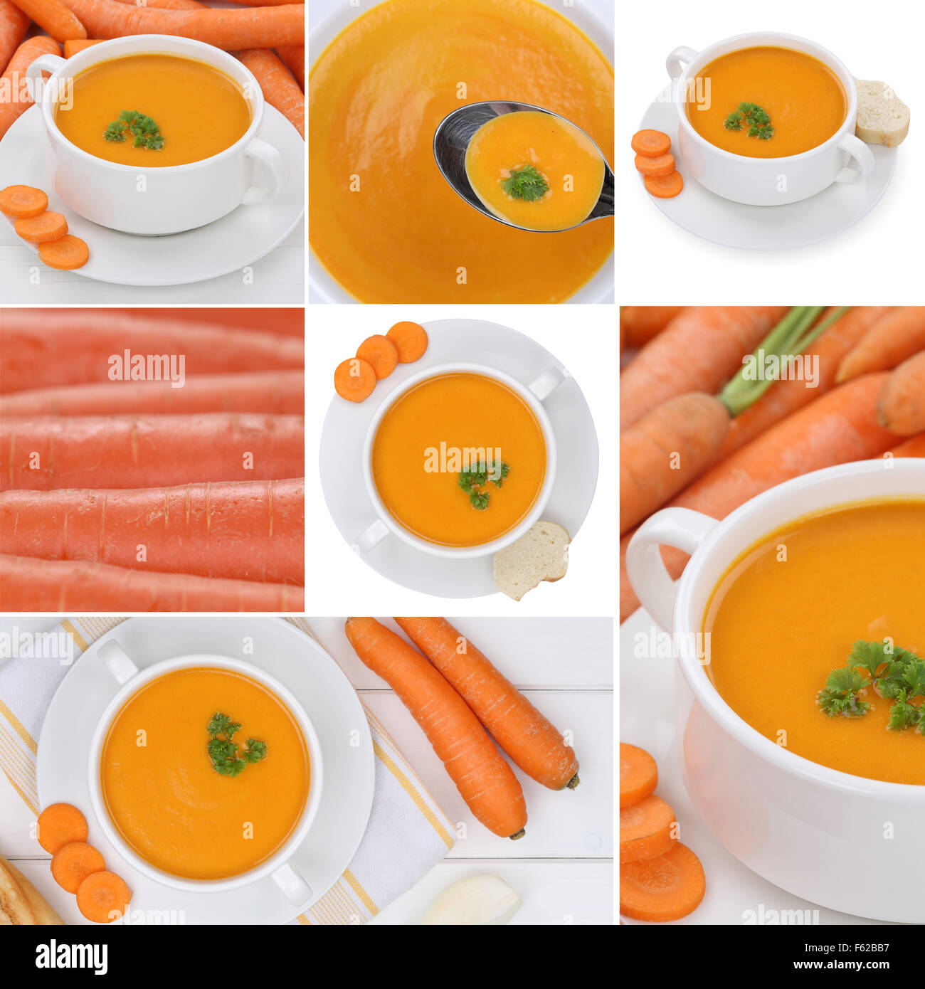 Collection of carrot soup soups meal with carrots in bowl - Stock Image