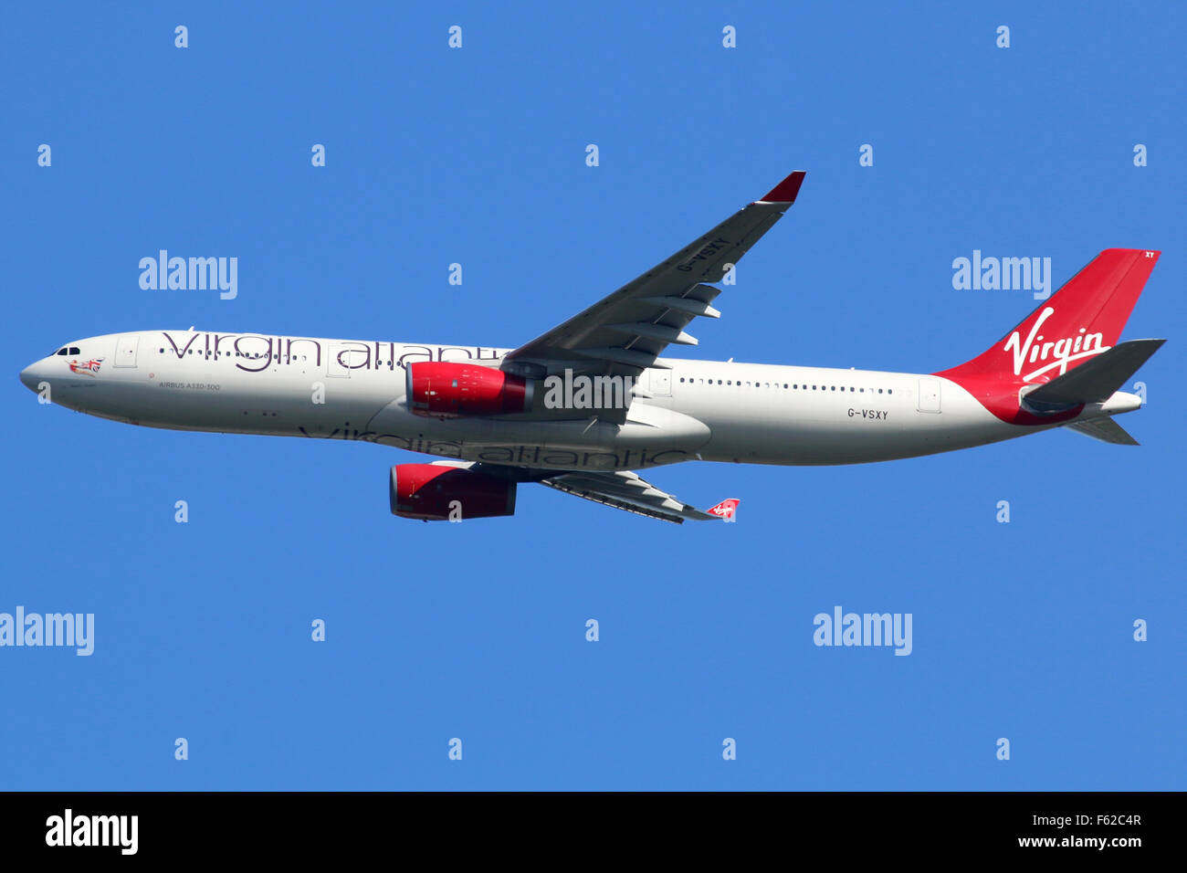 London Heathrow, United Kingdom - August 28, 2015: A Virgin Atlantic Airbus A330-300 with the registration G-VSXY - Stock Image