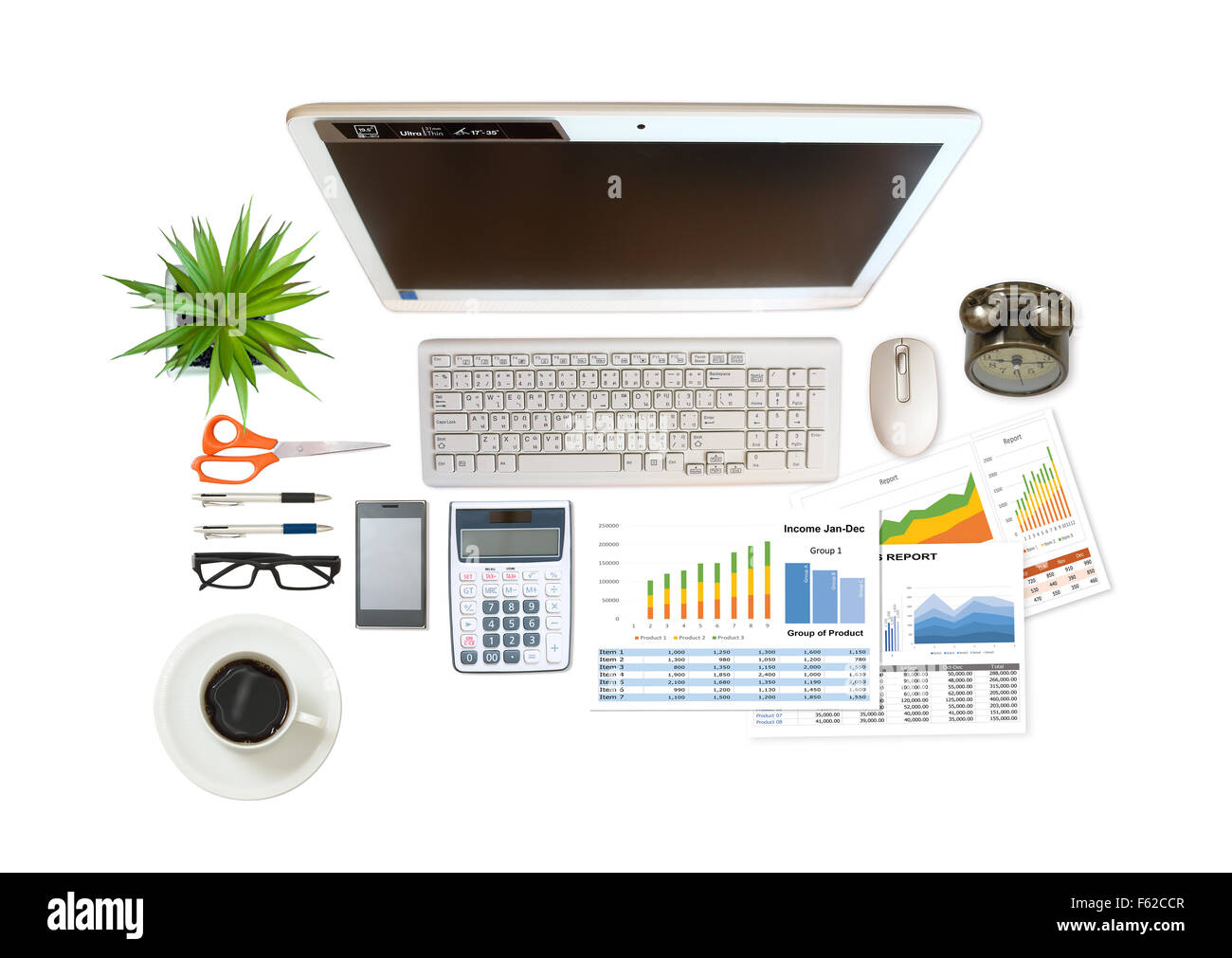 image of business and financial report on white background Stock Photo