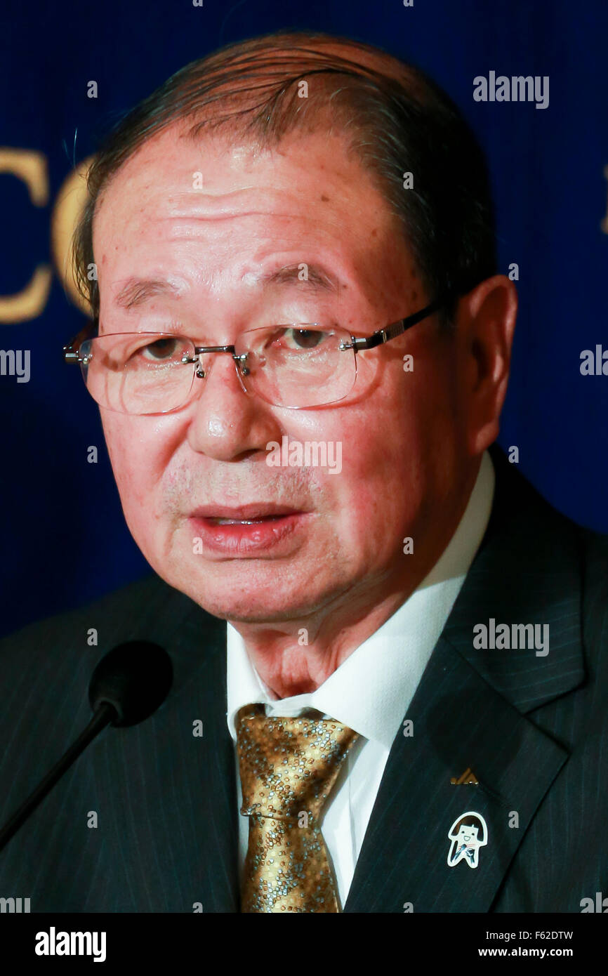 Tokyo, Japan. 10th Nov, 2015. Choe Okuno President of JA Zenchu (the Japanese Central Union of Agricultural Co-operatives) - Stock Image