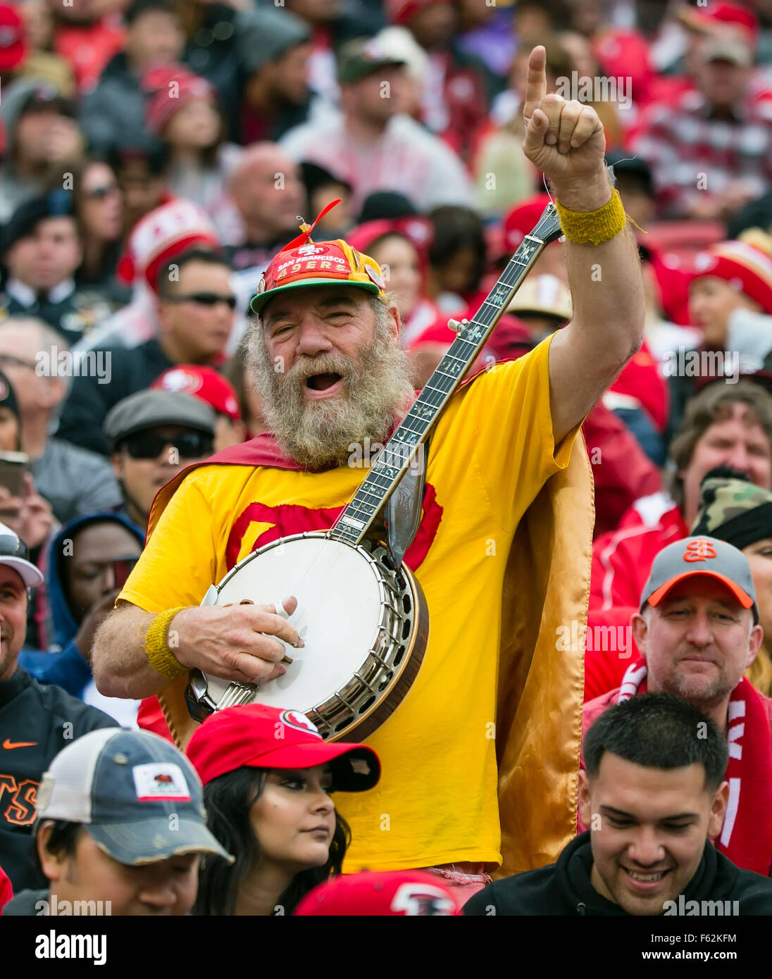 The mascot for the san francisco 49ers stock photos the mascot for 8th nov 2015 unofficial 49ers mascot banjo man performs altavistaventures Choice Image