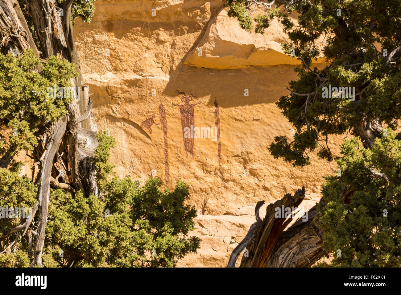 'Head of SInbad' - a 3000 year old rock art pictograph  - an example of Barrier Canyon culture, seen through - Stock Image