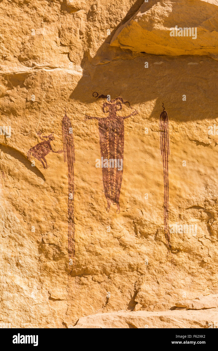 'Head of SInbad' - a 3000 year old rock art pictograph  - an example of Barrier Canyon culture in the San - Stock Image