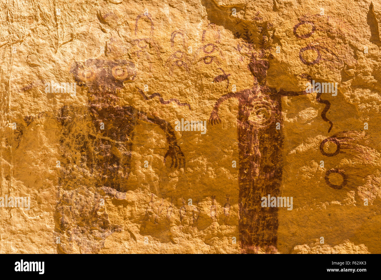 A 3000 year old rock art pictograph, found near the Head of Sinbad panel in the San Rafael Swell in Southern Utah. - Stock Image