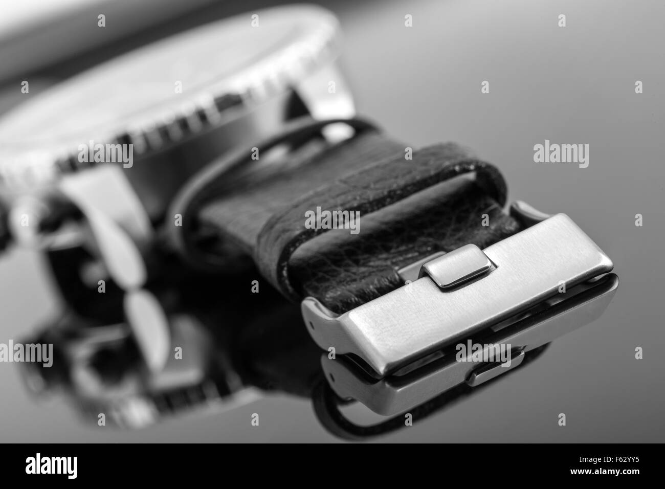 Macro view of latch on expensive watch - Stock Image