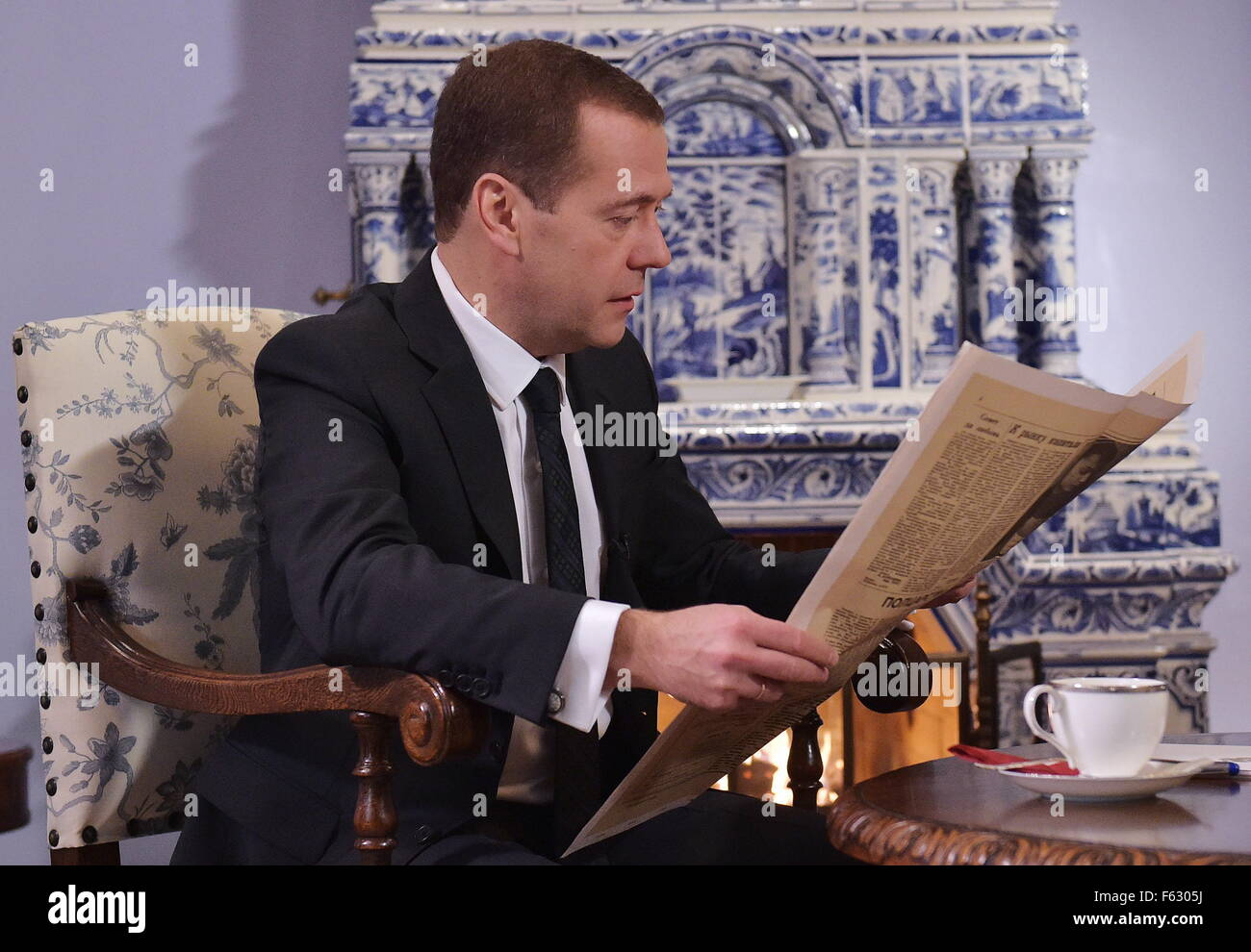 Moscow Region, Russia. 9th Nov, 2015. Russia's Prime Minister Dmitry Medvedev during an interview with the Rossiyskaya - Stock Image