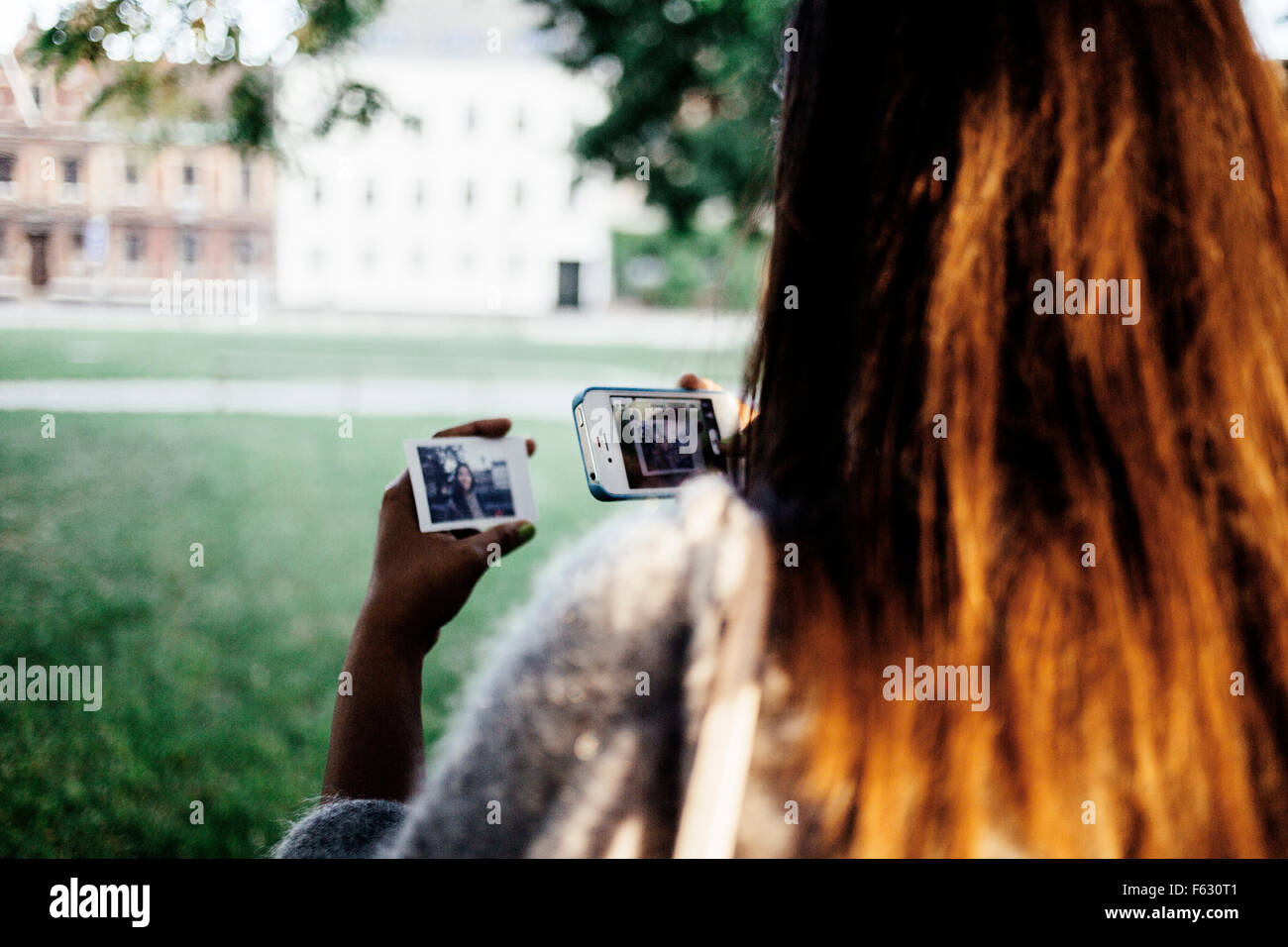Rear view of woman taking photo of photograph with smart phone in park - Stock Image