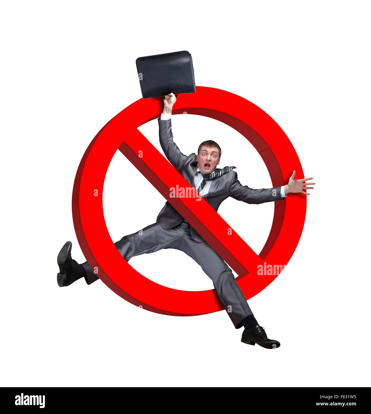 Sign NO businessman on a white background - Stock Image