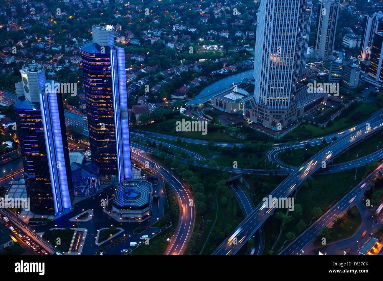 Evening. Automobile traffic on the transport road junction. View from above - Stock Image
