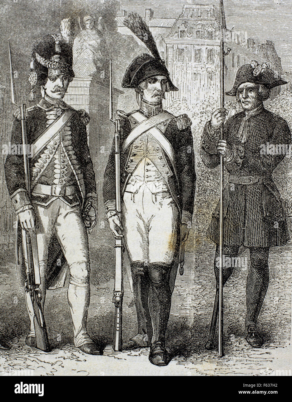 France. Guard of National Convention (center), French Grenadier Guard (left) and crippled (right). Engraving, 19th - Stock Image