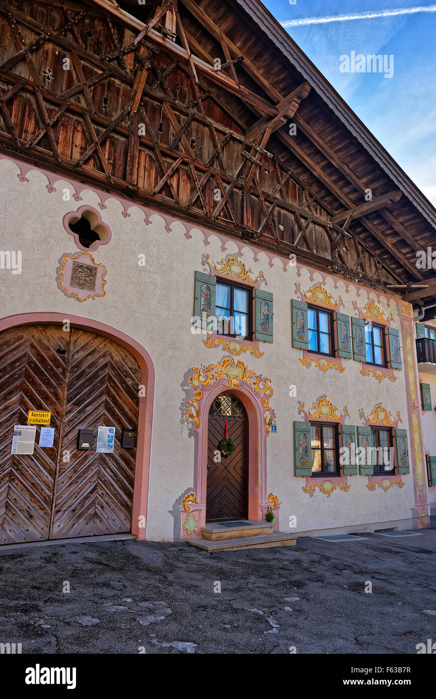 Charming houses with decoratively painted facades of Garmisch-Partenkirchen. Bavaria. Germany - Stock Image