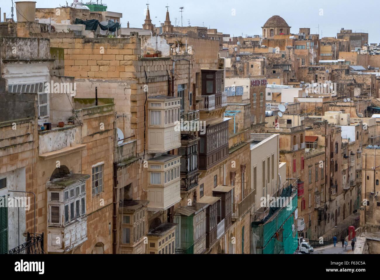 Balconies and general cityscape in Valletta, Malta. - Stock Image