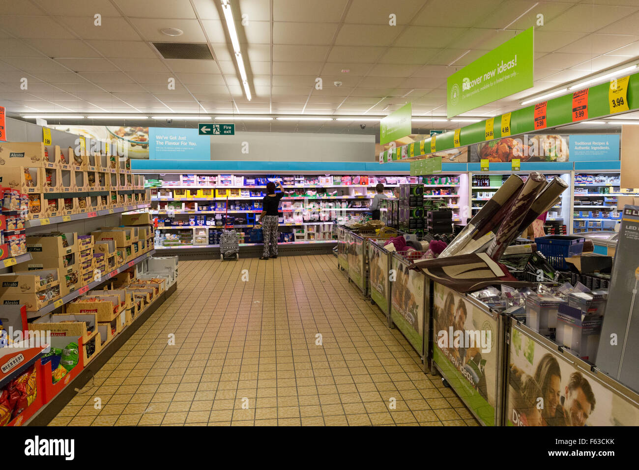 Lidl supermarket shopping aisle at Lidl, Winton Bournemouth UK - Stock Image