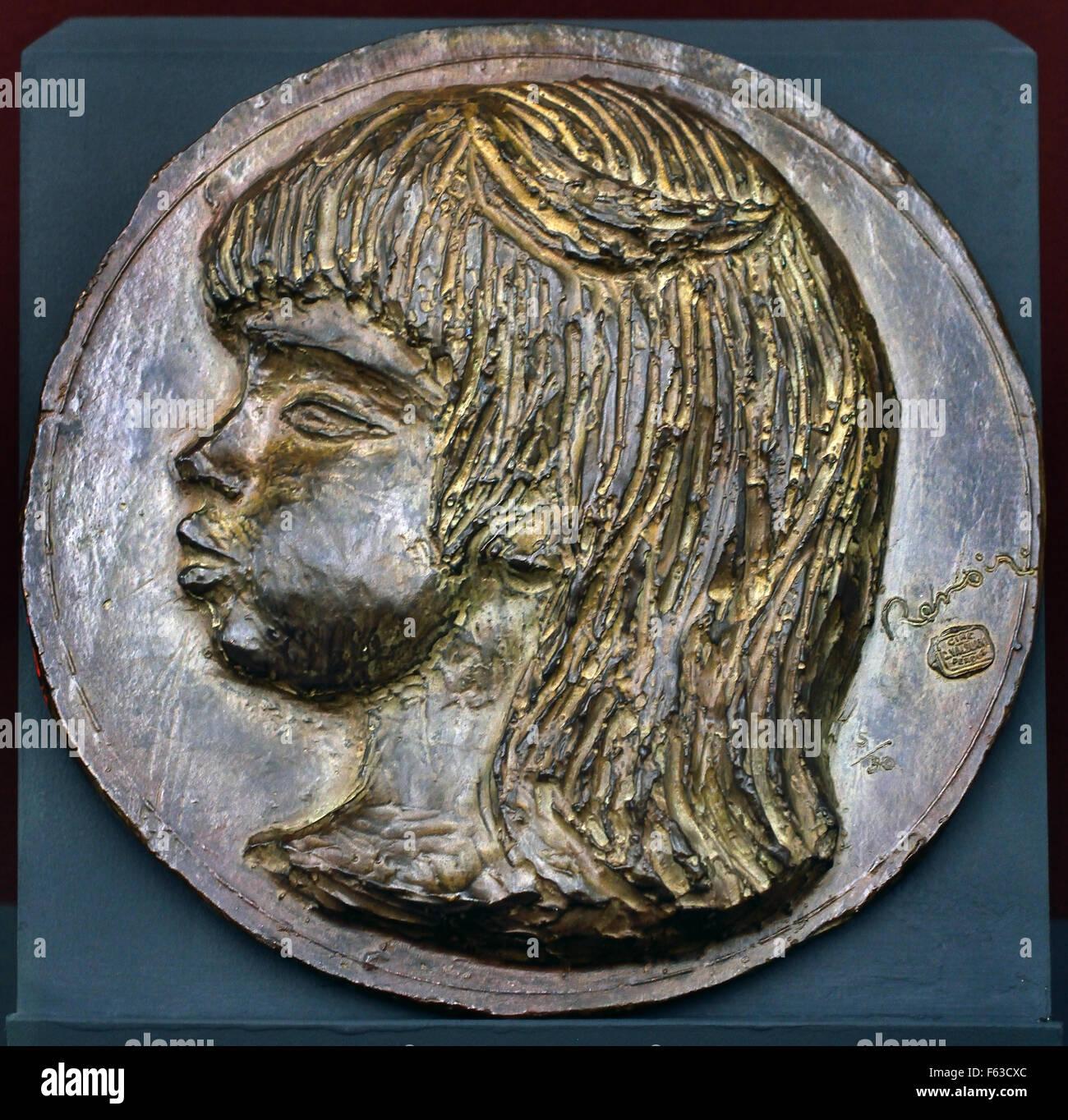 C. Valsuani Coco 1907 médaillon en bronze - C. Coco Valsuani 1907 bronze medal Pierre Auguste Renoir 1841-1919 - Stock Image
