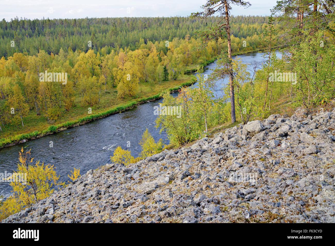 Nuortti River Urho Kekkonen National Park Lapland Stock Photo