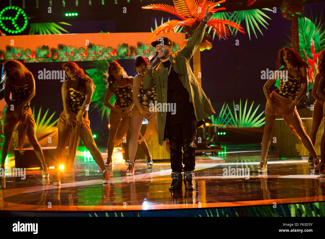 Celebrities perform onstage at the Latin American Music Awards at the Dolby Theatre  Featuring: Farruko Where: Los Stock Photo