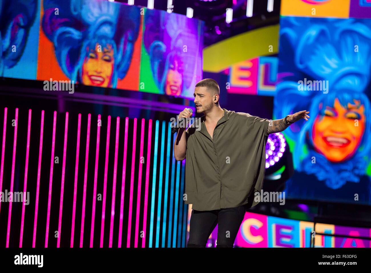 Celebrities perform onstage at the Latin American Music Awards at the Dolby Theatre  Featuring: Maluma Where: Los Stock Photo