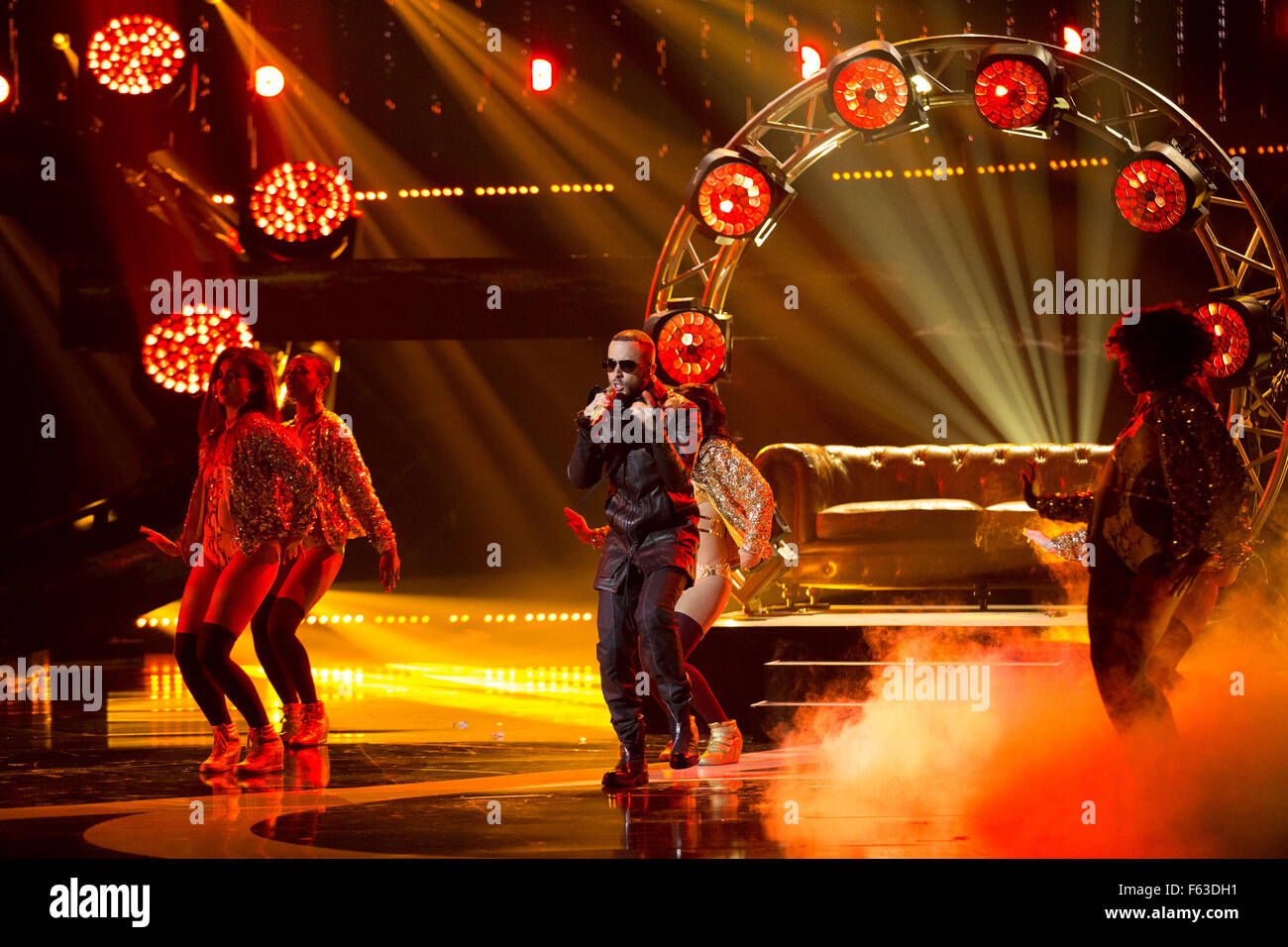 Celebrities perform onstage at the Latin American Music Awards at the Dolby Theatre  Featuring: Yandel Where: Los Stock Photo