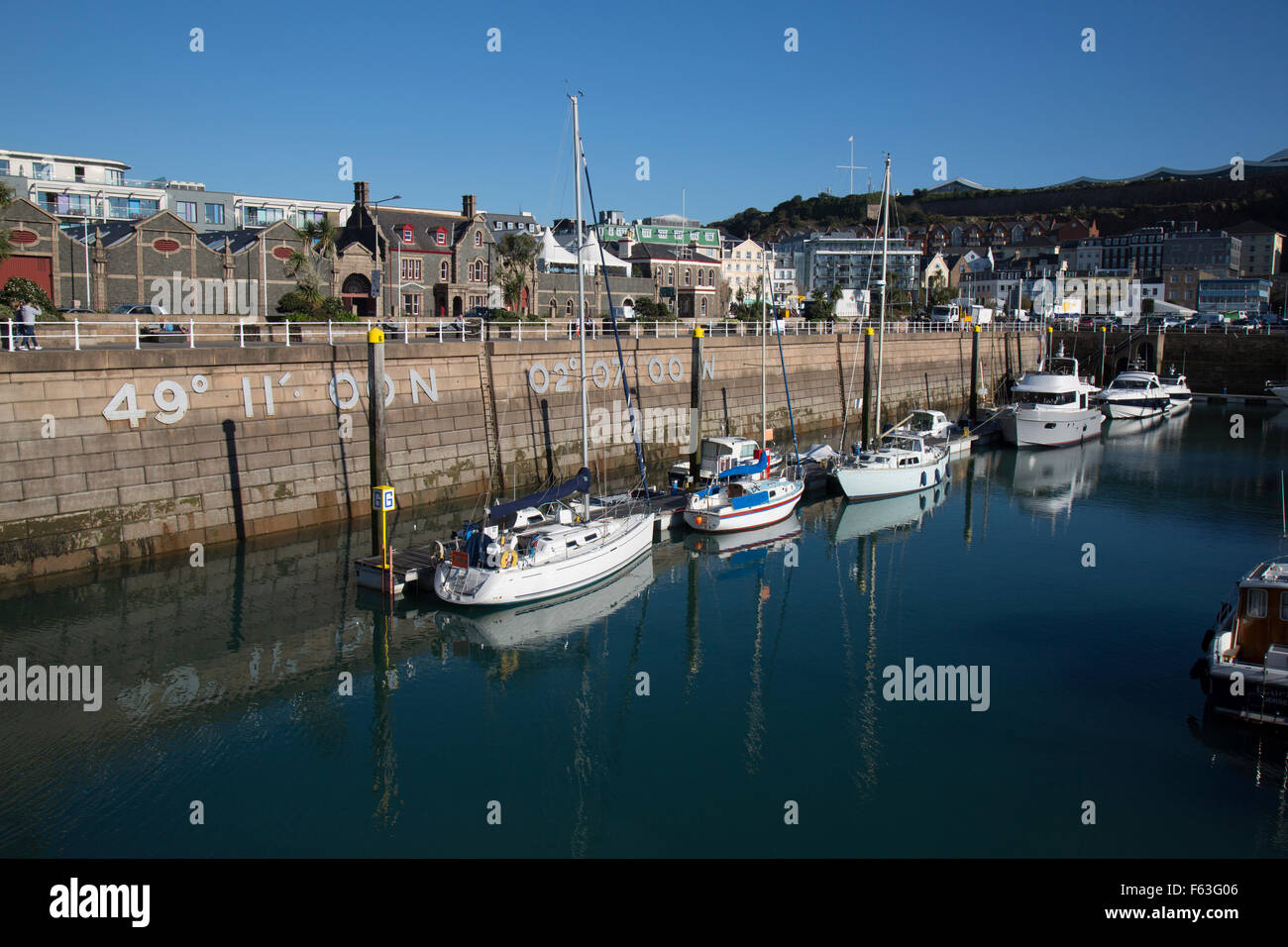St. Helier harbour, on the channel island of Jersey. - Stock Image