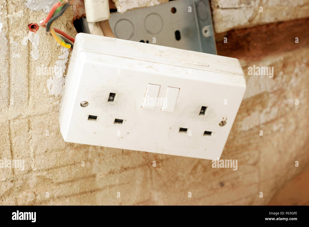 Electrical Plug Wiring For A House Enthusiast Diagrams Electric Sockets With Exposed In Rented Social Housing Rh Alamy Com