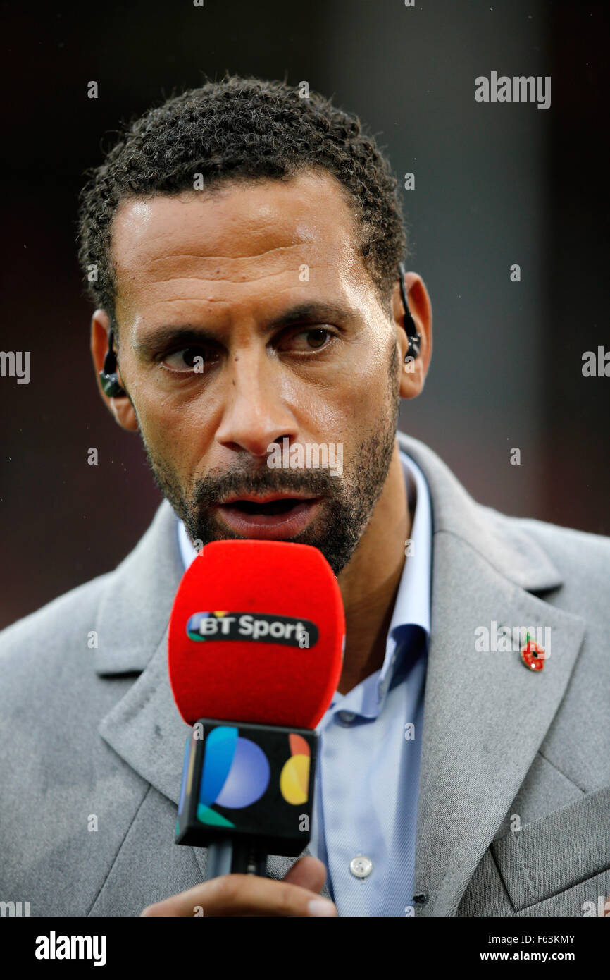 Rio Ferdinand, a BT Sport television presenter at a football match in England Stock Photo