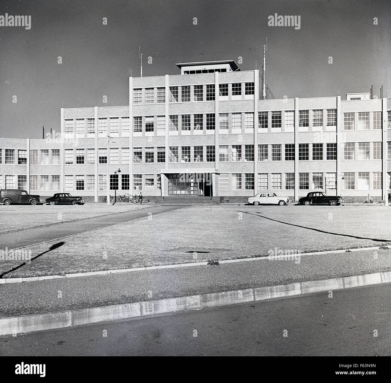 1950s historical picture showing the exterior of the Jan Smuts International airport, named after the 2nd Prime - Stock Image