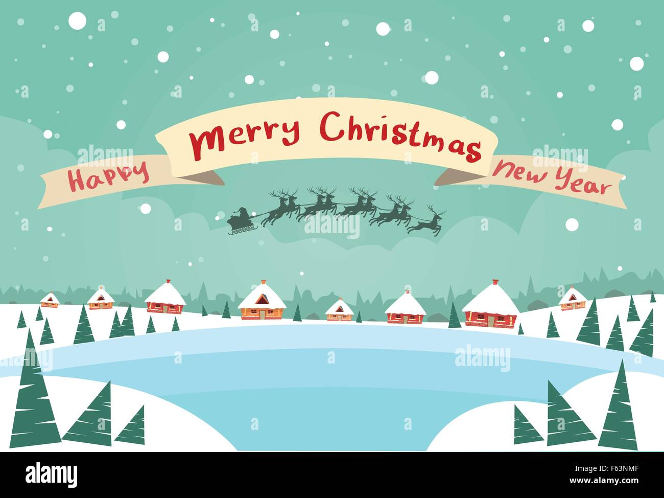 merry christmas and happy new year banner santa claus sleigh reindeer